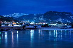 Estes park winter night panorama. estes park, colorado, united states Stock Photos
