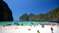 MAYA BAY, THAILAND - Timelapse. Tourists at Maya bay Phi Phi Islands, Thailand. Stock Footage