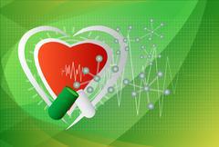 Stock Illustration of digital illustration of heart in colour background, vector.