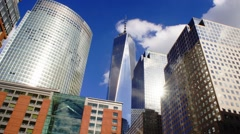 World Trade Center Time Lapse of Clouds and reflectons in NYC Stock Footage