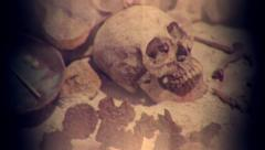 Skeleton of Emperor mayan - stock footage