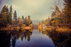 lake fulmor is san jacinto mountains reserve. - stock photo