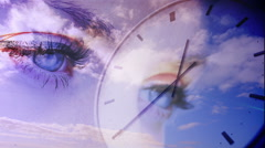 Time passing concept with eyes and blue sky Stock Footage