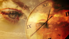 Time passing concept with eyes and orange sky Stock Footage