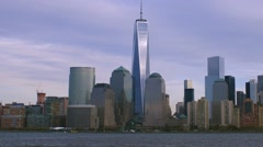 World Trade Center and downtown NYC Time Lapse of Clouds and reflectons Stock Footage