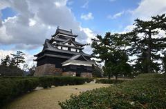 a vew of matsue samurai feudal castle in shimane prefecture - stock photo