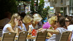 Cafe patrons - Beaune France Stock Footage