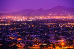 Phoenix arizona suburbs at night. Stock Photos