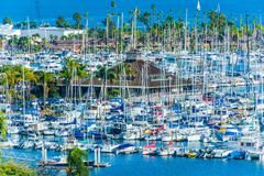 shelter island yachts basin and the north san diego bay. - stock photo