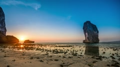 Poda Island sunset at Thailand. Timelapse video Stock Footage