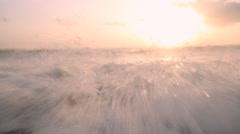Surf autumn sea at sunset Stock Footage