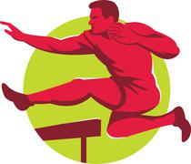 track and field athlete jumping hurdles - stock illustration