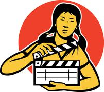 Asiian woman girl with movie clapboard Stock Illustration