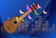 vector illustration of an ukulele with music notes background - stock illustration