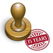 15 years experience grunge rubber stamp - stock illustration