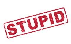Stock Illustration of stamp stupid with red text on white