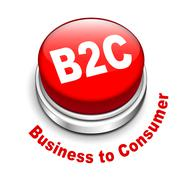 3d illustration of b2c ( business to consumer ) button - stock illustration