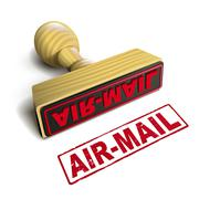 Stock Illustration of stamp air-mail with red text on white