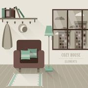 Cozy house interior in flat design style Stock Illustration