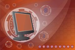 Monitor the background technologies. Stock Illustration