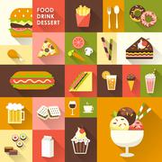Delicious desserts collection in flat design Stock Illustration