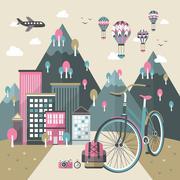 Flat design for bike travel concept Stock Illustration
