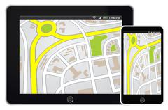 Tablet and smartphone mobile with GPS navigation on map Stock Illustration