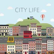 Stock Illustration of cityscape scenery in flat design