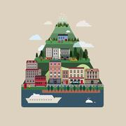 lovely hills houses in flat design - stock illustration