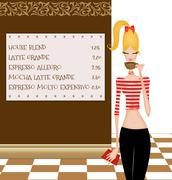 cute young woman at a coffee house - stock illustration