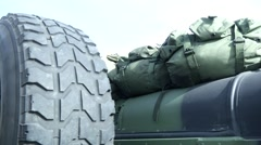 Back of a Military Jeep Stock Footage