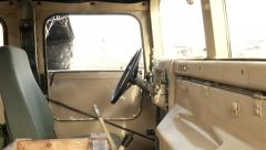 Burnt out Jeep - Military Vehicle interior Stock Footage