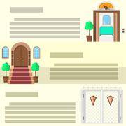 Stock Illustration of Entrance flat vector icons