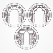 Stock Illustration of Vector illustration of three types brick arch icon