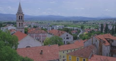 4K Sinj town center panorama Stock Footage