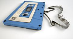 Cassette tape and musical notes concept Stock Illustration