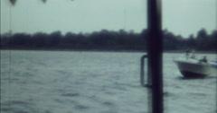 Berlin River 70s Motor Boat Passing 16mm Stock Footage