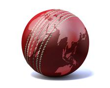 Cricket ball world map Stock Illustration