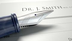 Stock Illustration of doctors prescription and fountain pen