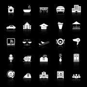 hospitality business icons with reflect on black background - stock illustration