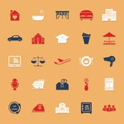 hospitality business classic color icons with shadow - stock illustration