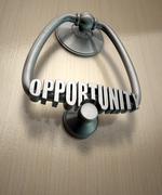 opportunity knocks door knocker - stock illustration