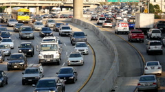 Overhead View of Traffic on Busy Freeway in Downtown Los Angeles California - stock footage