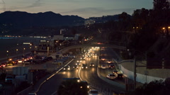 Cars Driving in Traffic at Night on Pacific Coast Highway in Santa Monica LA Stock Footage