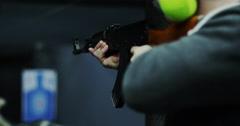Firing AK47 rifle at a Gun Range - stock footage