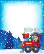 Winter theme with locomotive - illustration. Stock Illustration