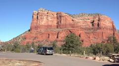 Sedona Arizona tourist bike red rock mountain scenic view HD 010 Stock Footage