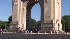 Triumphal arch bucharest Stock Footage