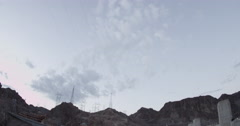 Tilt down wide angle of the Hoover Dam Stock Footage