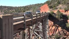 Sedona Arizona two way traffic Midgley Bridge HD 008 Stock Footage